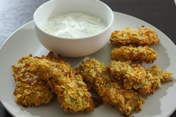 Oven baked crispy fish fingers with greek yogurt dip for Crispy baked whiting fish recipes