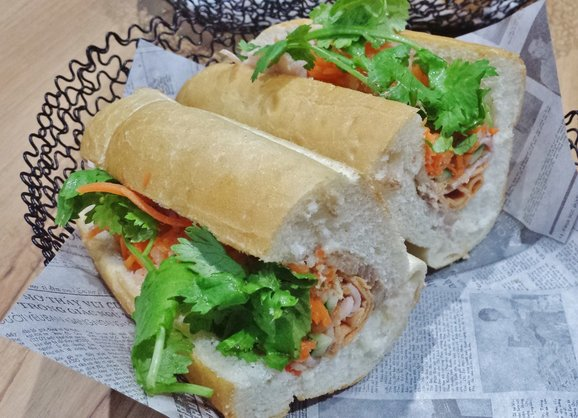 ... cuts, caramelized 5-spice pork belly, chicken floss banh mi ($6.90