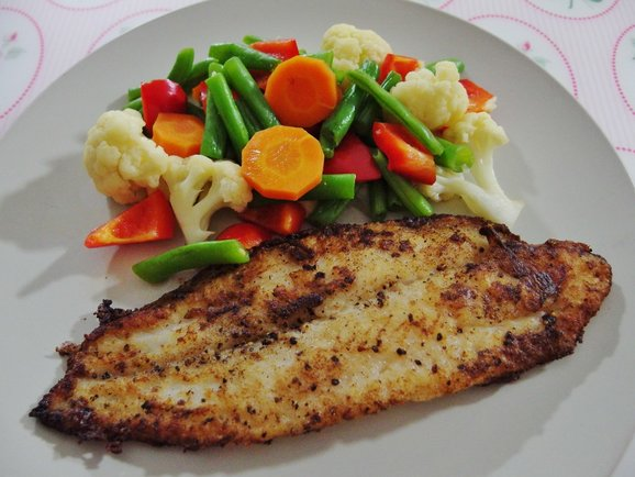 Pan fried sutchi fish recipe with assorted vegetables for Breaded pan fried fish