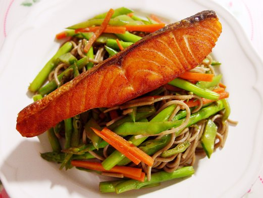 Crispy Salmon with Stir Fried Soba Noodles Recipe