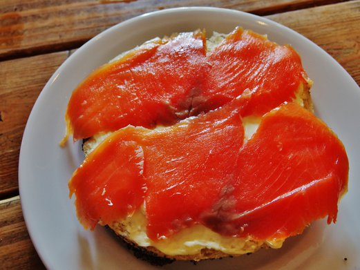 The Mugshot Cafe Cream Cheese Smoked Salmon Bagel